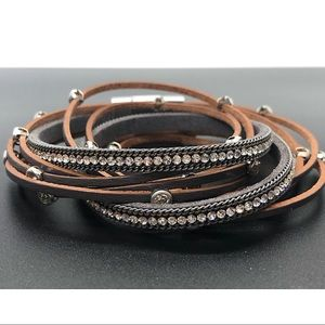 Jewelry - ❤️Multilayer leather rhinestone, crystal bracelet